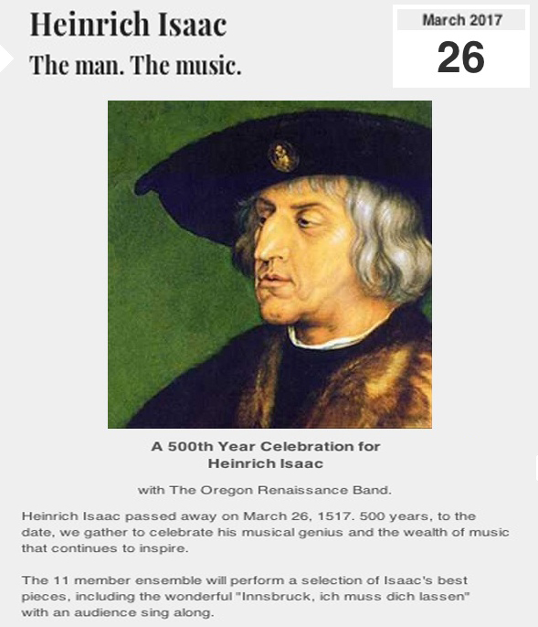 A 500th Year Celebration for Heinrich Isaac